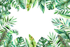 Colorful watercolor frame border with colorful tropical leaves. stock illustration