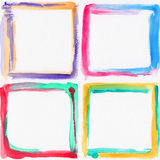 Colorful watercolor frames. Four colorful watercolor frames on white background Royalty Free Stock Images