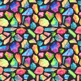 Colorful watercolor gem pattern, beautiful crystal pattern Royalty Free Stock Photos