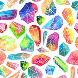 Colorful watercolor gem pattern, beautiful crystal pattern. Colorful watercolor gem pattern, beautiful crystal Seamless pattern over white vector illustration