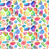 Colorful watercolor gem pattern, beautiful crystal pattern Stock Photography