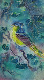 Colorful watercolor hand painted batik bird on textile background. Watercolor batik painting bird on textile Stock Image