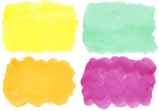 Colorful watercolor hand painted brush strokes. Are isolated on a white background Royalty Free Stock Photo