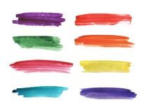 Colorful watercolor hand painted brush strokes are isolated on a white background. stock illustration