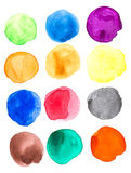 Colorful Watercolor hand painted circles set stock illustration