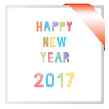 Colorful watercolor on happy new year 2017 text.  Stock Images