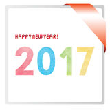 Colorful watercolor on happy new year 2017 text.  Stock Photos