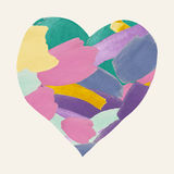 Colorful Watercolor Heart Shape from Brushes Strokes Royalty Free Stock Photography