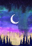 Colorful watercolor illustration of the moon, northern lights and firs. Stock Photography