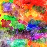 Colorful Watercolor Ink Paint Blend Background. A digital created watercolor paint background effect Stock Photo