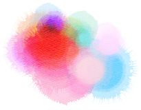 Colorful watercolor isolated blot on white background. Wet brush painted stylized rainbow paper texture. Abstract vivid artistic illustration. Digital art stock images
