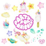 Set of unicorn party Stock Images