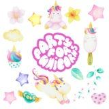 Set of unicorn party stock images