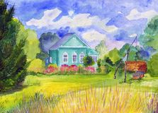 Colorful watercolor landscape with a cute rustic blue wooden house stock photos