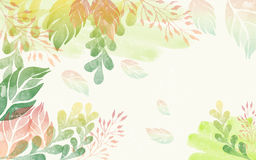 Colorful watercolor leaves background. Royalty Free Stock Photography