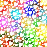 Colorful Watercolor Love Heart Pattern. A vibrant and colorful watercolor ink love heart pattern Stock Images
