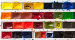 Colorful watercolor paint tray royalty free stock photo