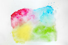 Colorful watercolor paint on white canvas. Super high resolution and quality. Royalty Free Stock Image