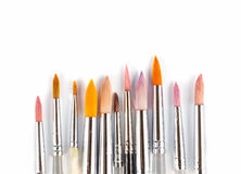 Colorful watercolor paintbrushes Stock Images