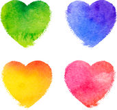 Colorful watercolor painted hearts vector set Stock Photo
