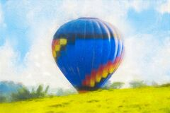 Colorful  watercolor painting balloon above a flower field at a national balloon festival