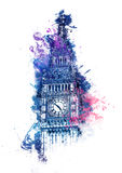 Colorful watercolor painting of Big Ben Royalty Free Stock Image