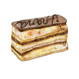 Colorful watercolor painting of chocolate Opera cake piece. Hand drawn realistic colorful pastry. Delicious french recipe almond, coffee sponge cake. Greeting Stock Photos