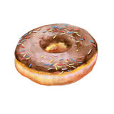 Colorful watercolor painting of donut glazed with chocolate and sprinkling confectionery Stock Photography