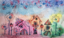 Colorful Watercolor painting of fantasy Fairytale town. Hand dra Royalty Free Stock Image