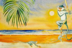 Colorful watercolor painting of seascape with monkey. Colorful watercolor painting on paper of seascape with sun background. Modern art desing paintings with royalty free illustration