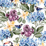 Colorful watercolor pattern with flowers hydrangeas , alstroemeria, irises and birds . Stock Photography