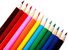 Colorful watercolor pencils (isolated ). Colorful watercolor pencils for children isolated on white background Royalty Free Stock Photos