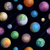 Colorful watercolor planets seamless pattern. On dark purple universe background. Watercolour hand drawn abstract planet balls magic illustration. Color Stock Photo