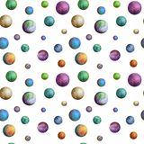 Colorful watercolor planets seamless pattern royalty free stock photos