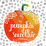 Colorful watercolor print of the ornament in the silhouette of vegetarian vegetable pumpkin. Pumpkin diet smoothies. Vector Stock Image