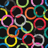 Colorful watercolor rings seamless pattern. Vector background with rainbow circle elements on dark vector illustration