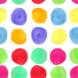 Colorful watercolor seamless pattern with circles. Background with painted round splashes Stock Image