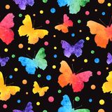 Colorful watercolor seamless pattern with cute butterflies isolated on black background. eps10 royalty free illustration