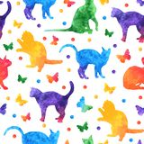 Colorful watercolor seamless pattern with cute cats and butterflies isolated on white background. vector eps10 royalty free illustration