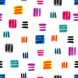 Colorful watercolor seamless pattern with squares and lines. Royalty Free Stock Photos