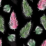 Colorful Watercolor seamless pattern with tropical leaves: palms stock illustration