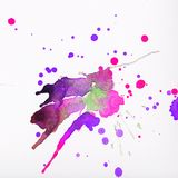 Colorful watercolor splashes. Over white background. Pink, violet and green colors Stock Photo