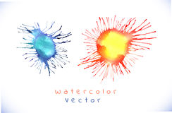 Colorful watercolor splashes isolated on white background. Colored blots on the white background Stock Photo