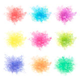 Colorful watercolor splashes isolated on white background. Royalty Free Stock Photo
