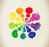 Colorful watercolor splashes  on white background Stock Photo