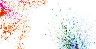 Colorful watercolor splashing on white isolate background graphi Royalty Free Stock Photos