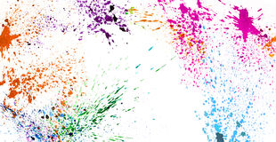Colorful watercolor splashing on white isolate background graphi Stock Photos