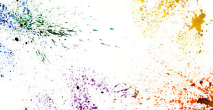 Colorful watercolor splashing on white isolate background graphi Royalty Free Stock Image