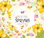 Colorful Watercolor Spring Flowers. Sale off Stock Images
