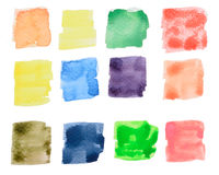Colorful watercolor square draw Stock Image